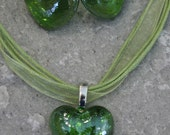 SALE Glass Green Heart Necklace and Earrings Set