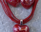 SALE: Glass Iridescent Red Heart Necklace and Earring Set