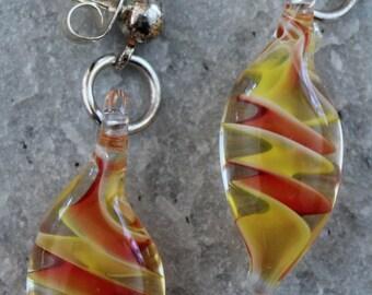 Glass Earrings on Sterling Silver Posts Orange