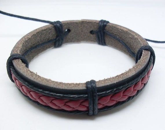 brown/red leather waxed black hemp cord bracelet