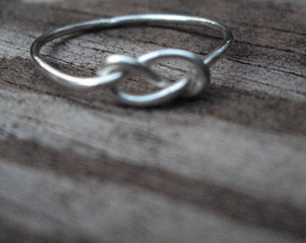 16g thick, Infinity knot ring, love knot, celtic knot, handcrafted, artisan, argentium, sterling silver, any size