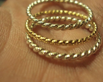 ONE ring - twisted, stacking, band, 14kt gold fill,16g, any size