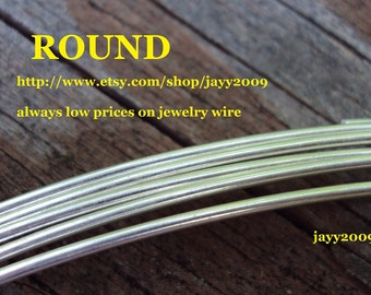 5 ft - 14G ROUND wire, half hard, ARGENTIUM sterling silver, other lengths available