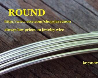 3 ft - 20g Round wire, Argentium sterling silver, half hard, commercial supplies