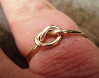 Set of 10 rings, Etsy jewelry, Love knot ring, , 16g, sturdy, 14k, gold, filled, 1.3mm thick each ring, any sizes you need