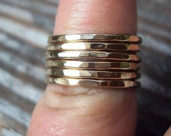 Set of 4, 16g, Rings, stackers, stacking rings, hammered, etsy jewelry