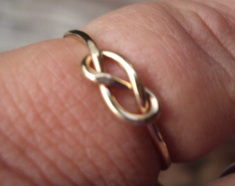 Set of 4, Etsy jewelry, knot ring, infinity knot, 14kt gold filled, handmade, 18g,