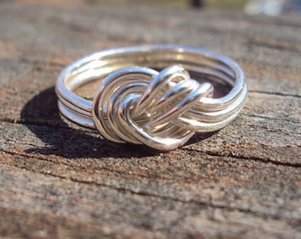 Etsy jewelry, triple love knot, argentium sterling silver, solid soldered band, , low profile