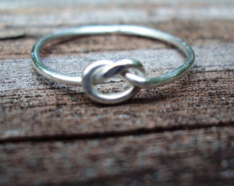 Jewelry, ring, love knot, argentium sterling silver, celtic knot ring, single knot ring, lovers knot ring, 16g,