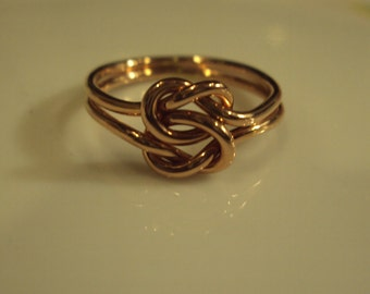 Double love knot, 14kt solid rose gold, 16g thick, any size up to sz 8, celtic lovers knot,