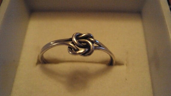Sterling silver double love knot ring, for engagement, wedding, traditional. celtic, 16g, 925 silver wedding band