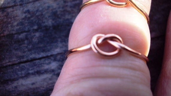 Etsy jewery, 14kt pink gold filled, rose gold, ring, knot ring, celtic ring, love knot, any size, 18g, one ring,