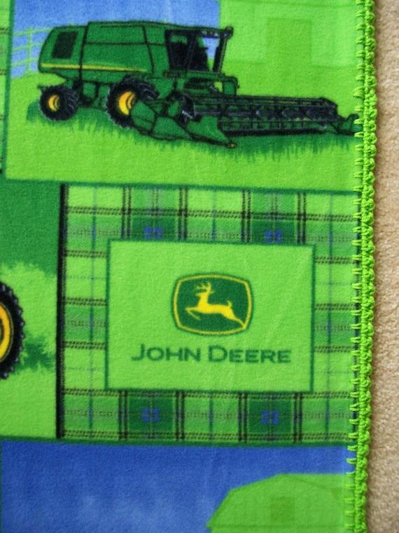 Tractor Clutch Blankets : John deere baby blanket plaid tractor fleece hand crochet