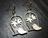 Gold Bird Leaves Earrings