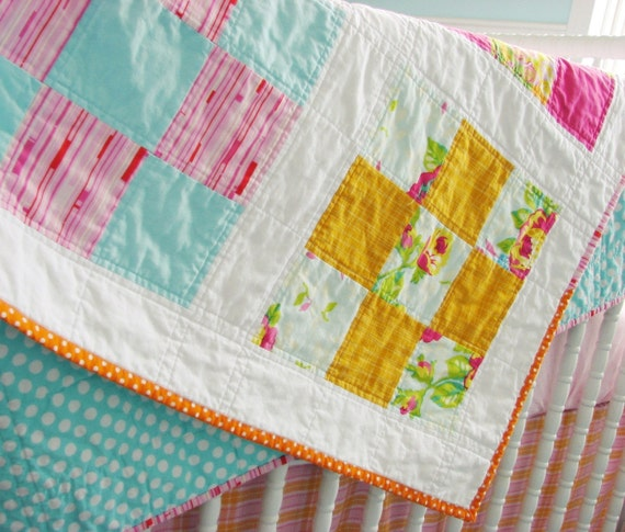 Handmade Modern Nine Patch Quilt