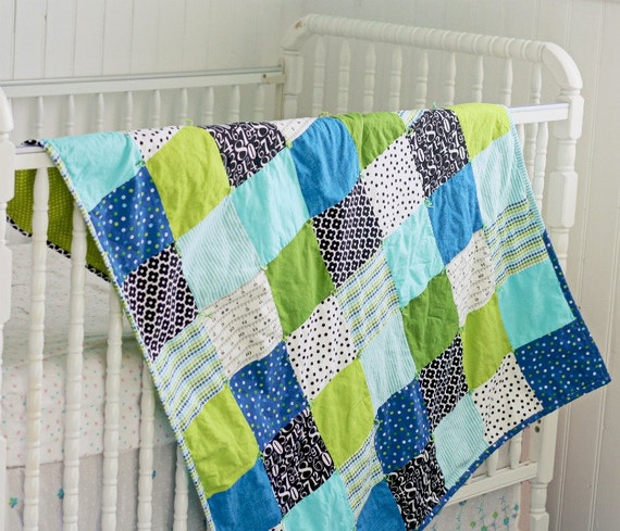 SALE Handmade Modern Baby Quilt