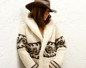 SMALL Cozy Chic Hand-Knit Mexican Wool Sweater (Women's Small Wave Design)