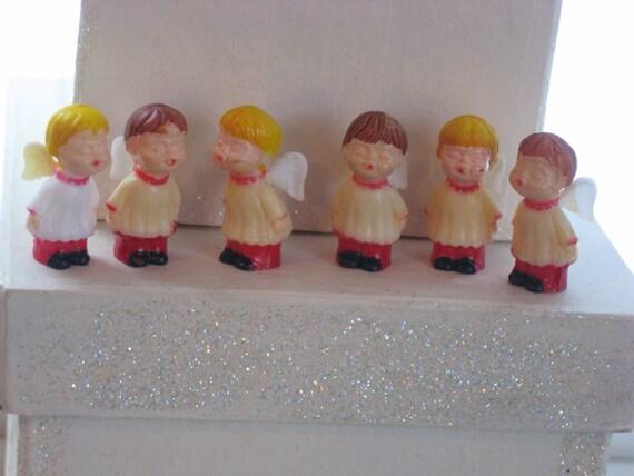 6 vintage plastic miniature choir angels