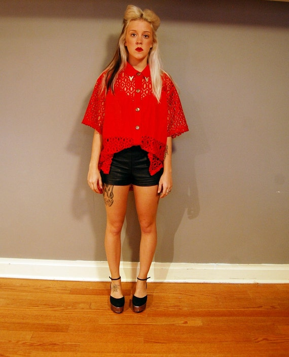 FREE SHIPPING Vintage Studded Bright Red Crochet Blouse with Silver Plated Collar