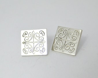 Silver Studs, Square studs, Short earrings, dainty earrings, short silver earrings, square earrings, silver earring, gift, mothers day, stud