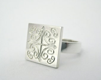 Silver ring for women, Sterling Silver Ring, Square Ring, Boho Ring, Coordinate Jewelry, Coordinate Ring, Statement Ring, Dainty Ring,