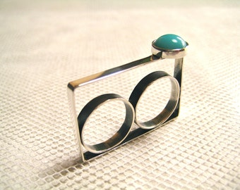 Turquoise Ring, Turquoise Jewelry, Double Ring, Statement Ring, Cocktail Ring, Gift, Stone Ring, Stone Double Ring, Unique ring, Mothers Day