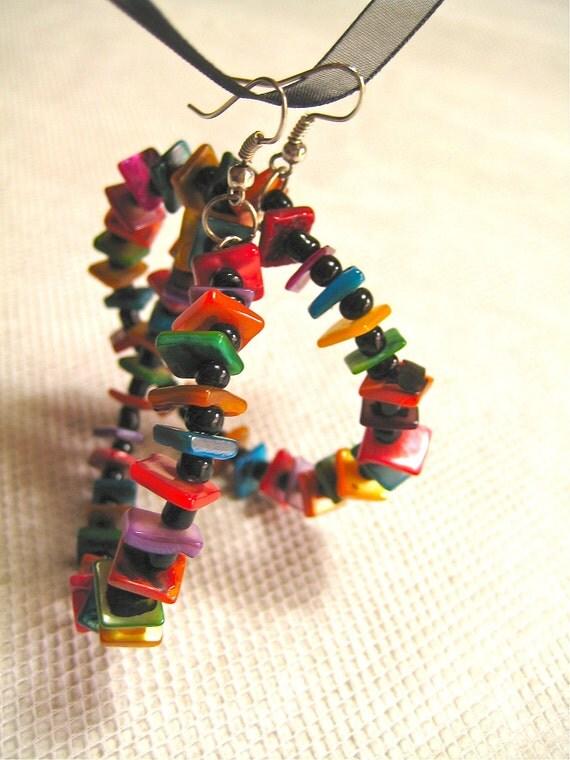 Hoop earrings gift for her mom gift colorful earring statement earring color black boho earrings bohemian earrings for her colorful hoops