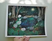 In the deep dark woods // 8.5 x 11 eco-friendly wall art forest deer print
