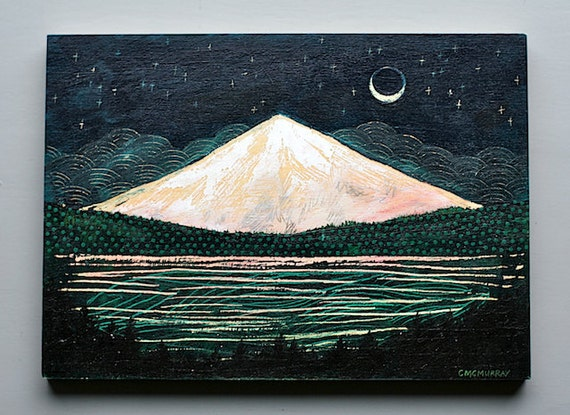mountain glow, 5 x 7 original