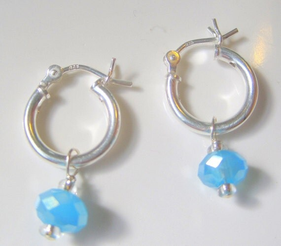Sterling Silver Hoops and Blue Swarovski Crystal Charm Girls Earrings