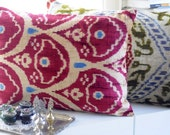 Handwoven Silk Velvet Ikat Pillow (tulip)