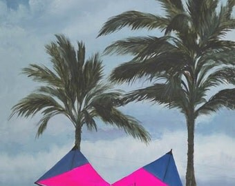 Revolution Paper Giclee Print Sport Kite Flying Quad Line Oahu Hawaii Chinamans Hat by Carol Thompson