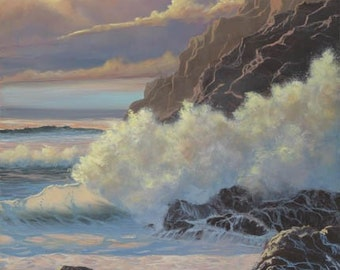 Glow Of Evening Paper Giclee Print Seascape Sunset Coast by Carol Thompson