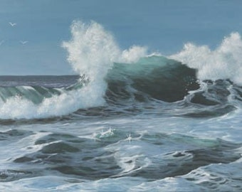 Power Play Paper Giclee Print Seascape Wave Translucent by Carol Thompson