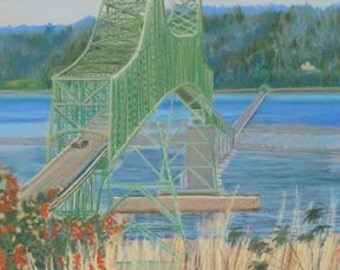 The Bridge Paper Canvas Giclee Print Astoria Oregon Columbia River by Carol Thompson