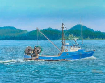 Sojourn Paper Giclee Print Fishing Boat Columbia River Astoria Oregon by Carol Thompson