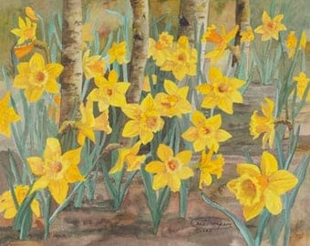 Daffodils Paper Giclee Print Flowers by Carol Thompson