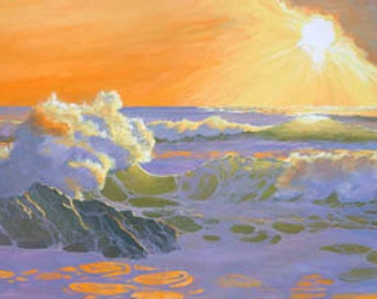 As The Sun Goes Down Paper Giclee Print Sunset Seascape Carol Thompson
