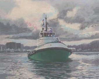 Henry Foss Paper or Canvas Giclee Print Tugboat Olympia Washington Harbor by Carol Thompson