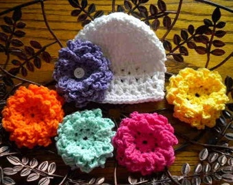 Baby Hat With Interchangable Flowers, Baby Girl Coming Home Hat, Newborn Flower Hats, New Mom Gift,Baby Girl Shower Gift, Crochet Baby Hats