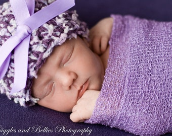 Newborn hat in plum and lavender with a matching wrap,Baby girl hat,Baby hat,Baby Beanie,Newborn hat,Baby shower gift,Photo Prop,Girl hat
