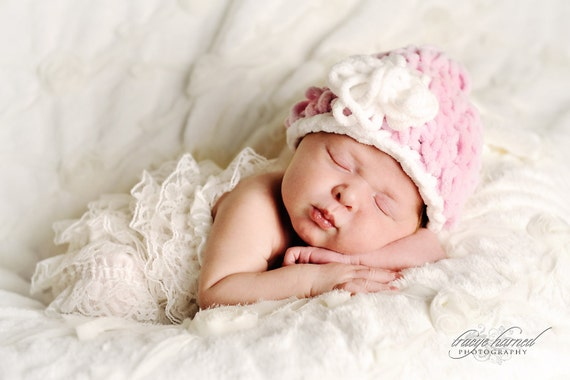 Newborn Baby Girl Hat In Pink and White Chenille  And White Lacy Romper -  Great Newborn Photography  Prop
