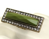 Green Agate and Rhinestones Stretch Art Deco Style Cocktail Ring