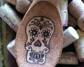 RESERVED LISTING FOR lhart5000: Burned Wood Spoon/Spatula - Sugar Skull - Day of the Dead