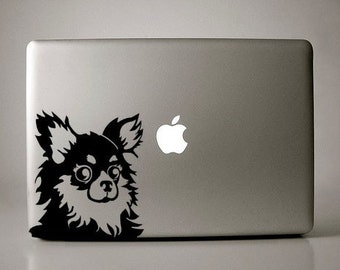Mexi Long-haired Chihuahua Decal Macbook Laptop