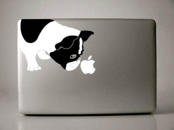 Bella the French Bulldog Sniffs Apple Decal Macbook Laptop