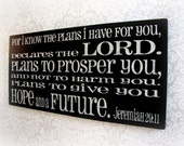 Hope and a Future Typography Sign- Shabby Chic Christian- Bible Verse Wall Hanging