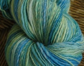 Hand Dyed Hand Spun Punta Wool Thick and Thin Singles Yarn in Early Spring