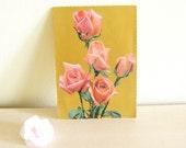 Vintage Postcard Peach Roses on Etsy