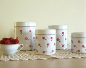 Retro Tin Cans Set of Five with Tiny Red Roses on Etsy
